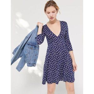 NWOT Urban Outfitters Navy Mercer Plunge Dress
